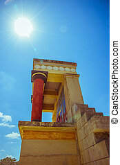 Knossos Palace ruin in sunny day, Greece, Crete - Knossos...