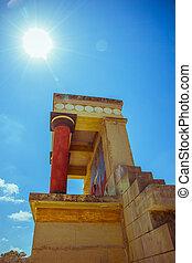 Knossos, Palácio, Ruína, em, ensolarado, Dia,...