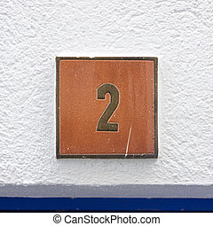 Number 2 - House number two on a ceramic tile