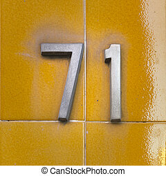Number 71 - aluminum house number seventy one Two separate...