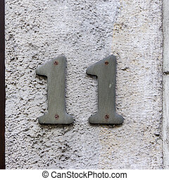 Number 11 - House number eleven Two separate numerals
