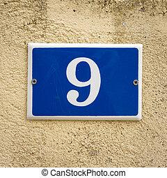 Number 9 - enameled house number nine