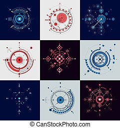 Collection of Bauhaus retro wallpapers, art vector background made using lines and circles. Geometric graphic 1960s illustration can be used as booklet cover design. Technological pattern.