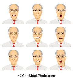 set of different expressions of the same senior businessman...