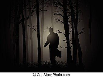Businessman In Dark Woods - Silhouette of a man with...