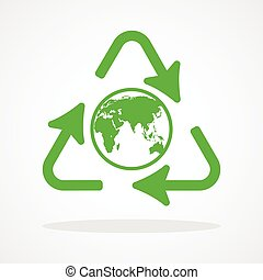 Recycle icon with earth globe