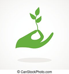 New Life - Icon of a hand holding a young plant or seed