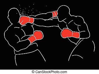 Line art illustration of two boxer