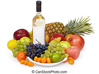 Still life - tropical fruits and bottle of wine