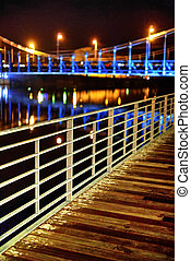 Wroclaw, Poland - famous Grunwaldzki Bridge at night