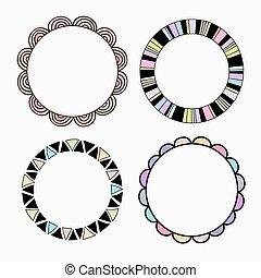 Vector set of four different colored frames.