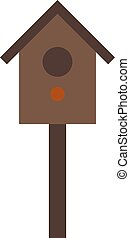 Wooden birdhouse hanging on tree nesting box flat vector -...