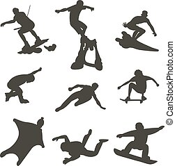 Vector drawing jumping and climbing men extreme athletes...