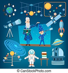 Planets and sun from our solar system astrology astronomy icons vector illustration, people education