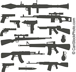 Weapon collection different military automatic gun shot machines silhouette police bullet vector.