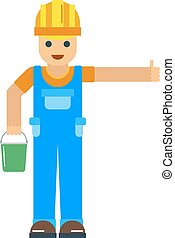 Happy cartoon repairman or construction worker with safety...