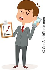 Boy businessman holding blank phone cartoon character vector.