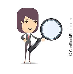 Business woman with a magnifying glass