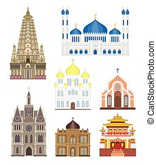 Set cities in middle famous buildings travel architecture landmark vector.