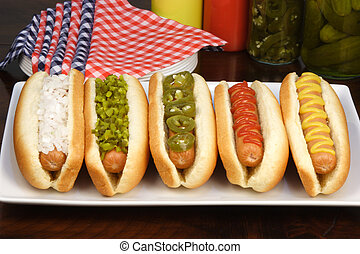 hot dogs on a nice table setting rich textures colors and...