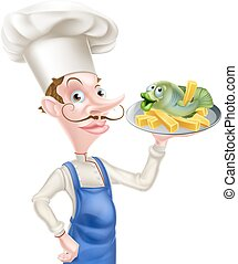 Fish and Chips Chef - A cartoon chef holding a platter with...