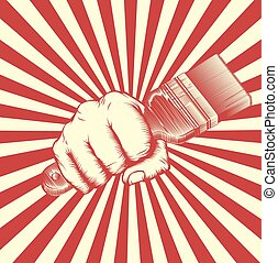 Propaganda Poster Paintbrush Woodcut Fist - A hand in a fist...