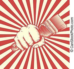 Propaganda Poster Paintbrush Woodcut Fist