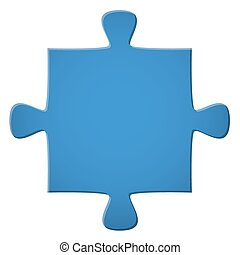 Puzzle piece blue - blue puzzle piece isolated on white...