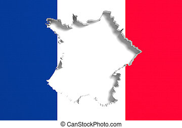 Silhouette of France map with flag