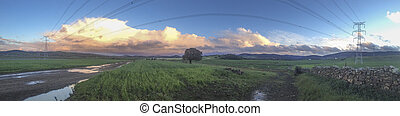 cloudy sky with storm clouds before the storm - Panorama of...