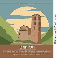 City buildings graphic template Andorra la Vella Vector...