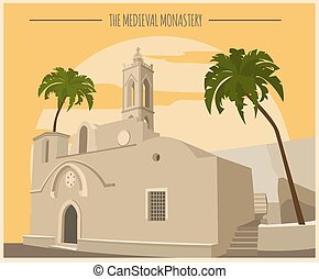 City buildings graphic template. Ayia Napa monastery. Vector...