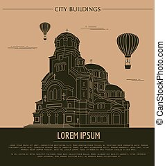 City buildings graphic template Bulgaria Sofia Vector...