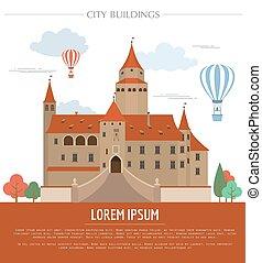 City buildings graphic template. Bousov castle. Vector...