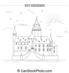 City buildings graphic template. Bousov castle. Vector...