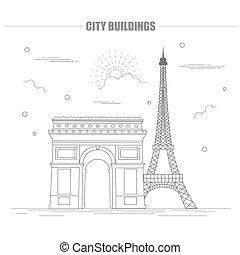 City buildings graphic template France Paris Vector...