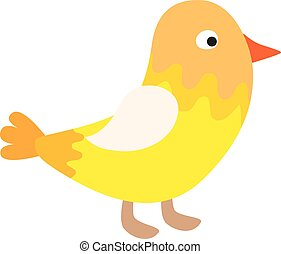 Cute happy little yellow bird easter chick with wings...
