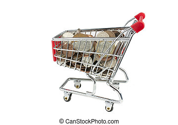 shopping trolley full of money - shopping trolley packed...
