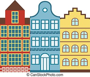 Traditional old buildings Amsterdam house Netherlands...