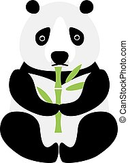Cartoon panda sitting and eating bamboo animal bear funny...