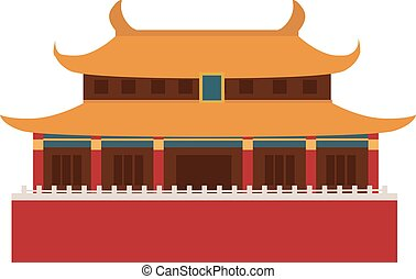 Beautiful china travel landmarks chinese temple vector. -...