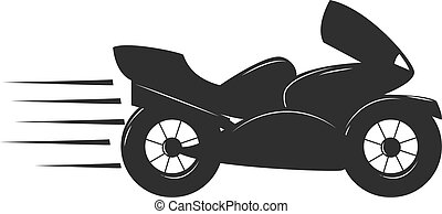 Sport bike black silhouette transport power vector illustration.