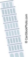 Leaning Tower of Pisa architecture landmark building vector....