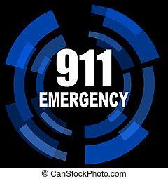 number emergency 911 black background simple web icon