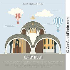 City buildings graphic template Macedonia Vector...