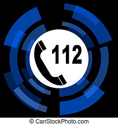 emergency call black background simple web icon
