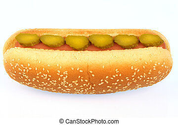 hot dog against white background with pickles