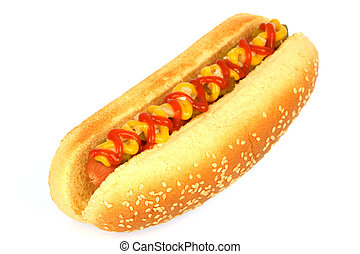 hot dog - hot dog against white background with onions,...