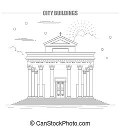 City buildings graphic template Italian basilica Vector...