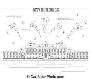 City buildings graphic template Royal Palace Stockholm...